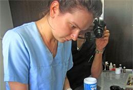 Een vrijwilliger assisteert een lokale dierenarts in Argentinië tijdens haar vrijwilligerswerk project.